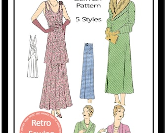 1930s  Dress, Coat, Skirt and Blouse - German Sewing Pattern - Paper Pattern Sheet