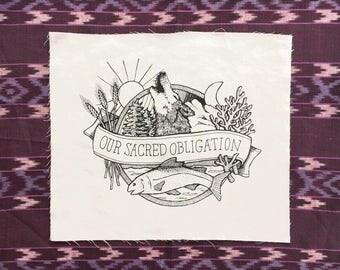 Large Sacred Sew-On Patch - back patch, fabric patch, nature punk, folk punk, art patch, cloth patch, punk patch, screenprint
