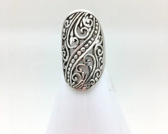 Sterling Silver Scroll Statement Ring