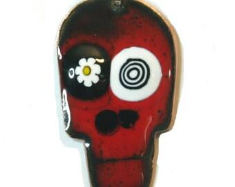 Red and Black copper enamel Skull Pendant, Handmade enamel jewelry by Katherine Reekie.