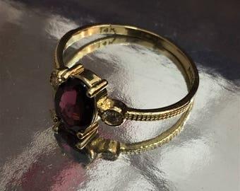 14k Solid Gold Garnet Ring, Garnet Engagement Ring