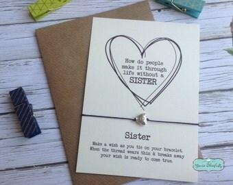 Sister Friendship Bracelet, Sister Gift, Sister Heart Bracelet, Sister Card, Gift for Sister, Sister Birthday, Sister Wish, Silver Sist