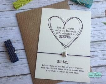 SALE Sister Friendship Bracelet, Sister Gift, Sister Heart Bracelet, Sister Card, Gift for Sister, Sister Birthday, Sister Wish, Silver