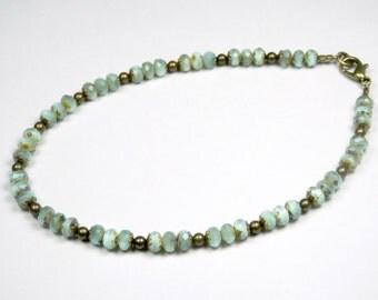 "Aqua Ankle Bracelet, Czech Glass Bracelet, Green Ankle Bracelet, Beaded Anklet, Girls Size, Plus Size, 7"", 8"", 9"", 10"", 11"", 12"", 13"""