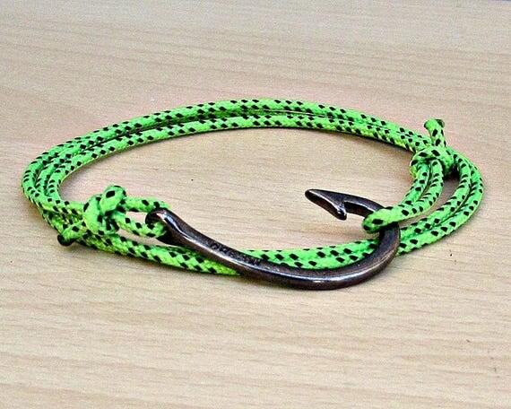 Nautical Hook Bracelet Mens Nautical Rope Wrap Bracelet Fish Hook Paracord Bracelet Adjustable