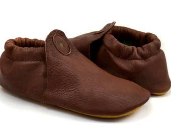 """Elk Leather Moccasins - Brown Leather Moccasins - Elk Leather Slippers - Soft Moccasin Slippers - Adult Softstar """"Roo Moccasin"""" Style"""