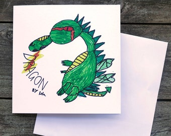 Isla's Dragon blank greeting card