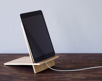 Wooden iPad mini stand, iPad stand, iPad Mini Docking Station, Docking Station, Tablet Docking Station