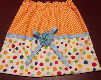 Girl's Skirt Size 5 Polka Dots on Dots Primary Colors