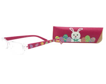 Women's Pink 2.75 Strength Easter Egg Reading Glasses with Hand Painted Bunny Eyeglasses Case
