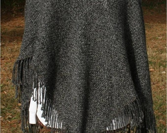 Alpaca Poncho is Black and Gray Tweed