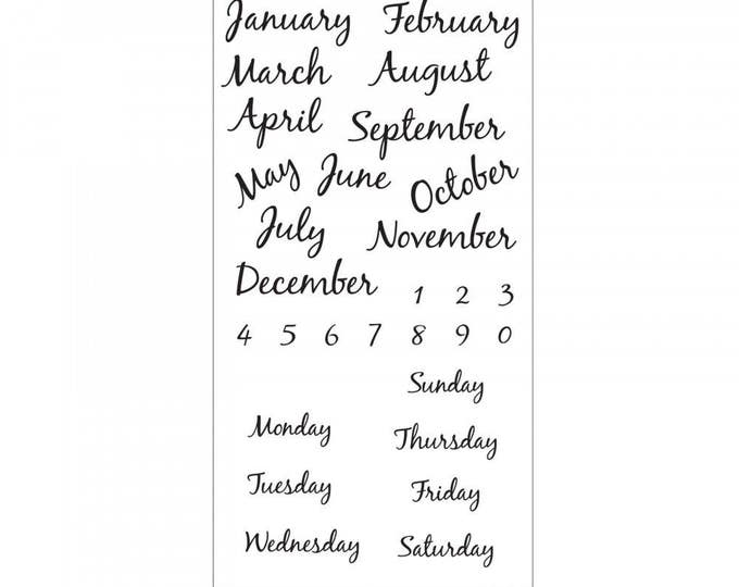 New! Sizzix Clear Stamps - Calendar by David Tutera