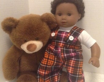 """Plaid Coverall Outfit - Fits 15"""" Bitty Baby and all other 15"""" Dolls"""