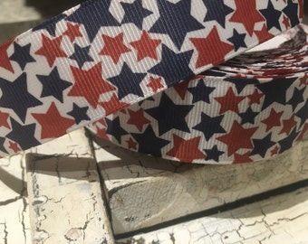 """3 yards 1"""" patriotic red white and blue stars"""