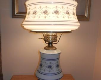 Original Quoizel AB703A - White Blown Glass Hurricane Lamp with Soft Blue Floral Design