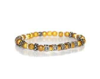 Name Bracelet, Personalized Bracelet, Gold and Silver Bracelet, Bead Bracelet, Gift for Woman, Girl's Personalized Bracelet