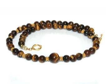 Men's Necklace, For Men, Tiger's Eye and Gold Vermeil Necklace, Necklace for Man, Man's Necklace, Men's Beaded Necklace, Men's Bead Necklace