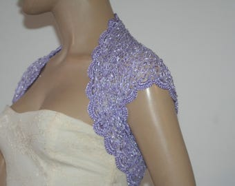 Lilac Wedding Bridal Bolero Shrug Lace Crochet Knit  Shrug Boleros  Gold White Grey Blue Lilac Black