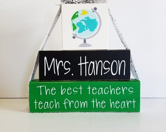 3- Block Stack- It Takes A Big heart To Shape Little Minds- Custom Name-Painted Wooden Blocks-Country Decor-Teacher Gift-Teacher Quotes