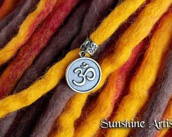 Om Symbol charm, Antique bronze, Dread charm, Dreadlock bead, necklace pendant, hair wrap charm, Bronze Om Sign, Dread accessories, boho
