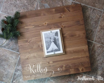 Picture Frame Wedding Guest Book Alternative Wood Sign - Rustic Guest Sign In - Country Wedding Sign - 5x7 Photo Frame - MADE TO ORDER