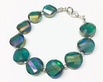 Teal Iridescent Glass Bracelet