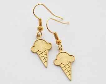 Ice Cream Earrings, Ice Cream Jewelry, Ice Cream Cone Earrings, Ice Cream Cone Jewelry, Novelty Earrings, Food Earrings, Dessert Earrings