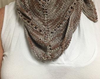 Shades of Brown Triangular Knitted Shawl