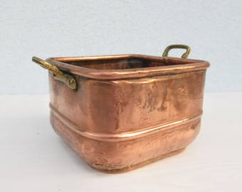 Antique Square Copper-Bronze BOWL Handled Pot Indoor Storage Planter