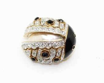 Adorable Vintage Carolee Pave Rhinestone Enamel Faux Pearl Bug Ladybug Pin Brooch-Estate Jewelry!