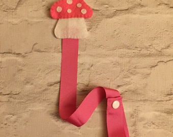 Hand crafted pink toadstool hair accessory holder