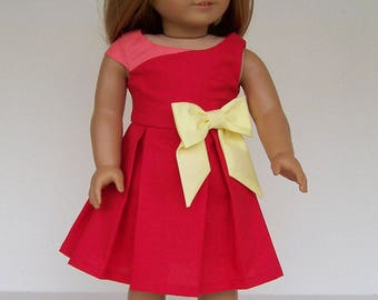 Dress for 18 inch dolls - Red with Pink and Yellow Accents made from Melody Valerie Sunday Morning pattern