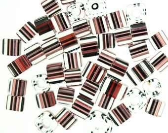 Furnace Glass Beads, 1 ounce  Red with Black Stripes  Square , medium to large size cube beads # 34
