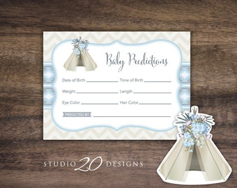 Instant Download Tribal Boho Prediction for Baby Cards, Printable Blue Teepee Confetti Predictions, Tribal Boho Baby Shower Games 85B