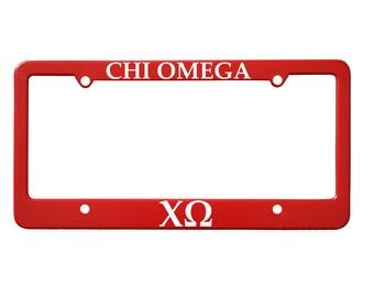 Officially Licensed Chi Omega License Plate Frame