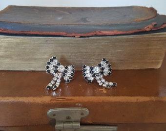 REDUCED Bluette Vintage Bow Black & Clear Diamante Shoe Clips