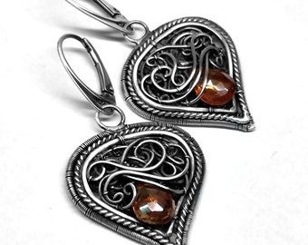 Sale***Topaz jewelry. Silver earrings topaz. Orange topaz. Jewelry wire wrap. Topaz earrings
