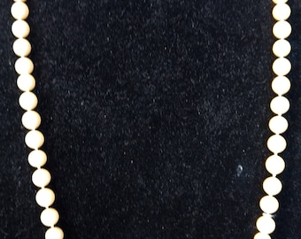 Vintage Designer Signed Les Bernard Faux Pearl Necklace Gold Toned Horse Head Clasp