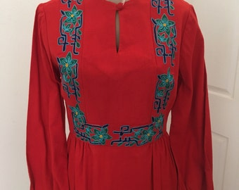 Vintage embroidered MaxiDress made in India boho hippie festival