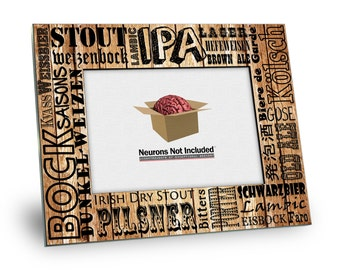 Beer Picture Frame - Types of Beer - 8 x 10 Frame - Holds 5 x 7 Picture