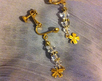 Swarovski crystal an gold plated clip on screw back earrings with gold plated 4 leaf clover charms