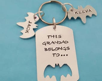 This Grandad belongs to unique hand stamped keyring great Fathers day or birthday gift