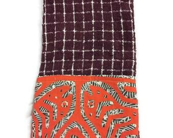 Hand Towel with Mola Design-Kitchen Tea Towel with Mola Design-  Panama Indian Mola Towel- Mola Dish cloth - Mola Hand Towel