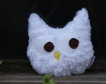 owl stuffed animal  - White - owl stuffed - toothfairy pillow