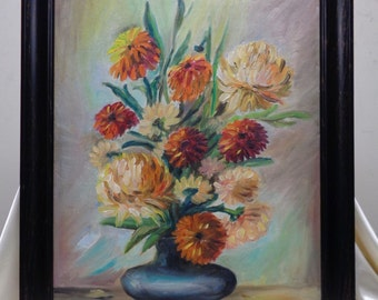 Vintage Pom Pom Flowers Oil Painting on Canvas Panel w Black Vintage Style Frame