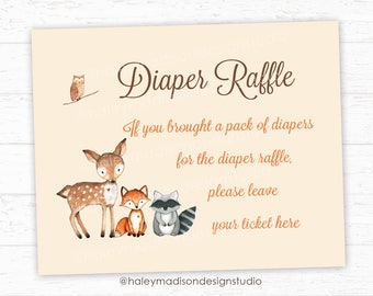 Woodland Diaper Raffle Sign, Woodland Baby Shower games, Diaper Raffle sign DIGITAL FILE HM111