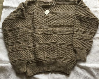 Hand knitted sweater in textured stitches in Brown or Grey