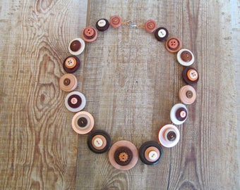 Button Necklace Apricot, Cream and Brown Button Necklace  Retro Vintage