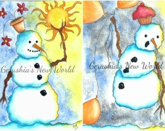 Snowman Print Set -  Watercolor, Prints, Print Set, Salted Watercolor