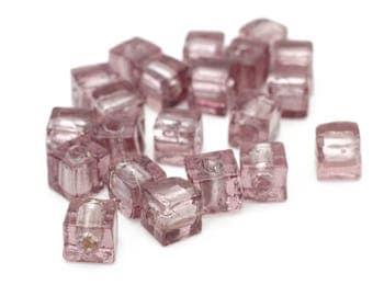 Light Purple Venetian Glass Silver Foil Square Cube Beads 6mm 5pcs